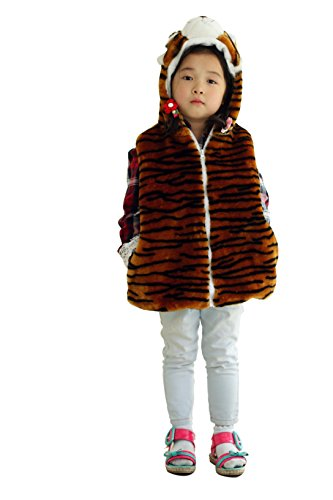 Fashion Animals Vest Hoody for Kids(Brown Tiger Vest) (S)