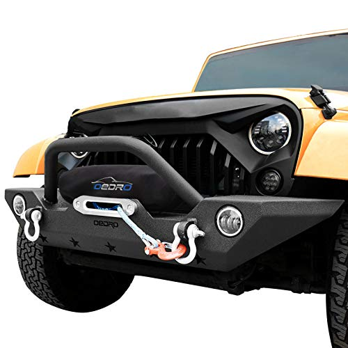 oEdRo Front Bumper Combo Compatible for 07-18 Jeep Wrangler JK with Winch Plate Mounting & 2x D-Rings, Upgraded Textured Black Rock Crawler Off Road Star Guardian Design