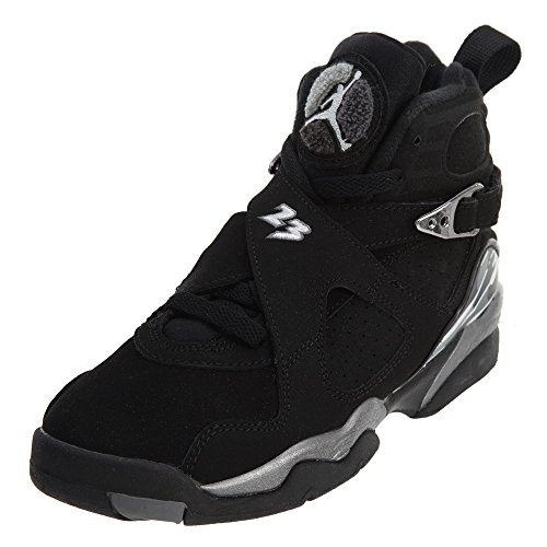 Nike Air Jordan 8 Retro BG 'Chrome' 305368-003 Black/White/Graphite Kids' Shoes (4) ()
