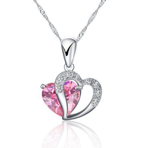 - 925 Silver Necklace Adjustable Chain and Pink Crystal Heart Pendant – Handmade with Sparkling double Heart Silver and Crystal like Pendant in various stunning colors. Designed in England.