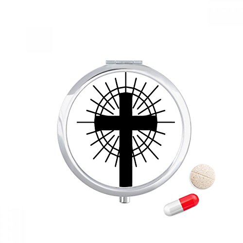 Religion Belief Christianity Church Circle Travel Pocket Pill case Medicine Drug Storage Box Dispenser Mirror Gift by DIYthinker