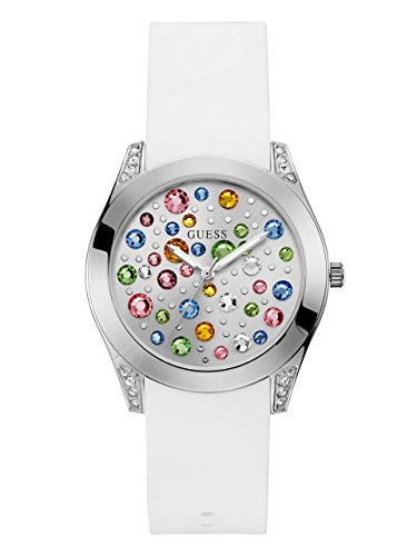 - GUESS  Silver-Tone + White Stain Resistant Silicone Multi-Colored Crystal Watch. Color: White (Model: U1059L1)