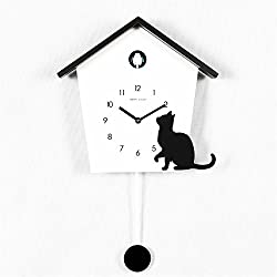 Wall clock Candy-colored whole point of time cuckoo clock swingSilent Non Ticking Battery Operated 12 Inch Round Easy to Read dining room coffee shop and bar iron bedroom 28.546.5cmblack