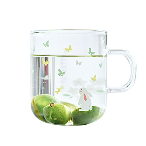 Glass Mug with Handle,Cute Animal Design Borosilicate Glass Cups with Butterfly Rabbit print-Perfect gifts for kids Drinking Tea, Latte, Espresso, Juice,Milk (Rabbit A,350ml/12.3oz)