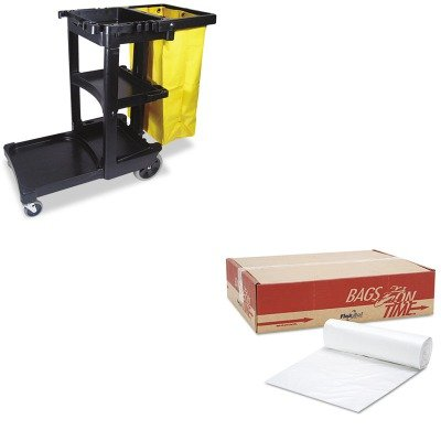 KITESXBR4048MRCP617388BK - Value Kit - Essex Can Liner Hi-D Rolls (ESXBR4048M) and Rubbermaid Cleaning Cart with Zippered Yellow Vinyl Bag, Black (RCP617388BK)