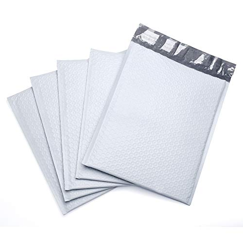 FU GLOBAL Poly Bubble Mailer Padded Envelopes, 6 x 10-Inches, White, 50-Pack