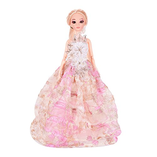 FairyStar Handmade Embroidery Multi-layer Wedding Veil Dress Clothes For Barbie Dolls (Light Yellow And Pink)