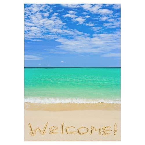 Pingshoes Tropical Beach with Welcome Polyester House Garden Flag Banner 12 x 18 inch, Blue Sky Over Ocean Decorative Flag for Wedding Home Outdoor Garden Decor ()