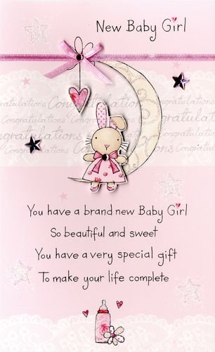 Amazon new baby girl embellished greeting card second nature new baby girl embellished greeting card second nature poem corner cards m4hsunfo