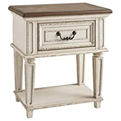 Bedroom Signature Design by Ashley Realyn Nightstand, Chipped White farmhouse nightstands