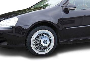 Juego universal de cubiertas para radios de coche y anillos blancos de 13 pulgadas para coches y coches antiguos.: Amazon.es: Coche y moto