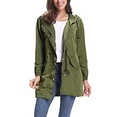 Abollria Womens Outdoor Waterproof Lightweight Windbreaker Raincoat Hooded Rain Jacket: Clothing
