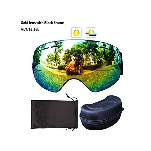 Ski Goggles Snowboard Eyewear Double Layers Anti Fog Lens Large Spherical Mask Snowmobile Glasses,Gold Frame (Gold-designer-brille)
