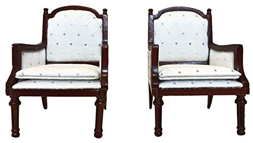 Inusitus Set of 2 | Wooden Dollhouse Armchairs | Dinning Lounge Chairs | Dolls House Furniture | Dark Brown Walnut Finish | 1/12 Scale