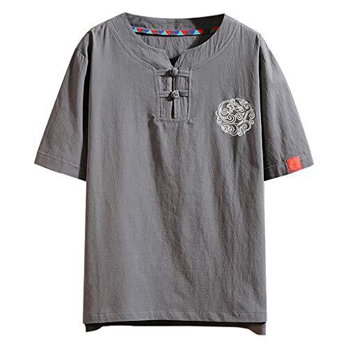 - Men Linen Henley Shirts,ONLYTOP Men's Summer Vintage Embroidery Linen Loose Short Sleeve Knot Down T-Shirt Tops Gray
