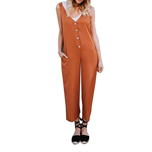 Masterein Femme col V Manches Jumpsuit Bouton Front Side Pocket Jambe Large Romper Orange