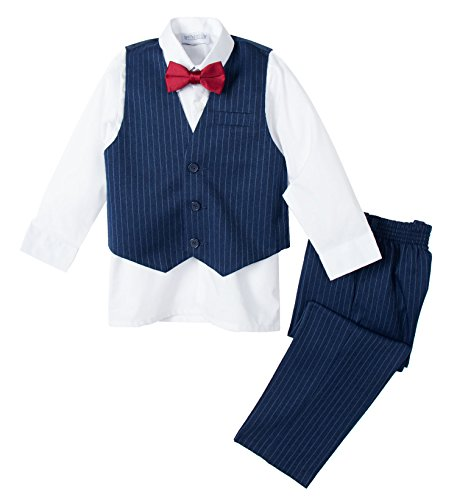 Spring Notion Baby Boys' Fall Collection Pinstripe Vest Set 12M Blue-White-Red ()