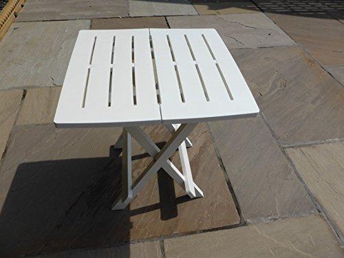UK-Gardens White Resin Plastic Garden Table Lightweight Folding Outdoor Camping Side Table