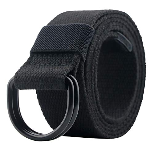 Canvas Belt, Military Web Black Belt Women/Men with Double D Ring Buckle 42