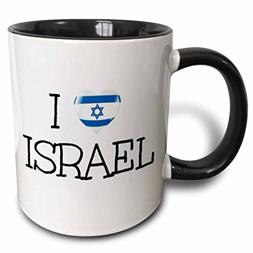 I love Israel heart picture with Israeli flag in it blue letters - Two Tone Black Mug, 11oz ()