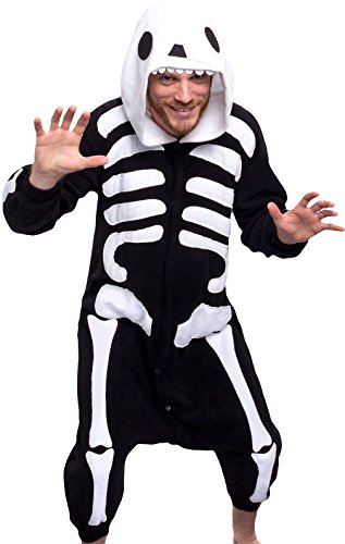 (Silver Lilly Unisex Adult Pajamas - One Piece Cosplay Costume (Skeleton,)