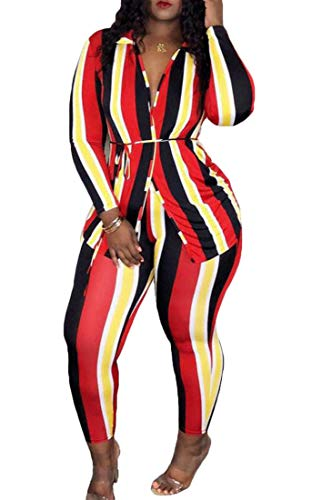 Spirio Women 2 Pieces Striped Tie Tops and Legging Long Pants Tracksuit Set Red XL