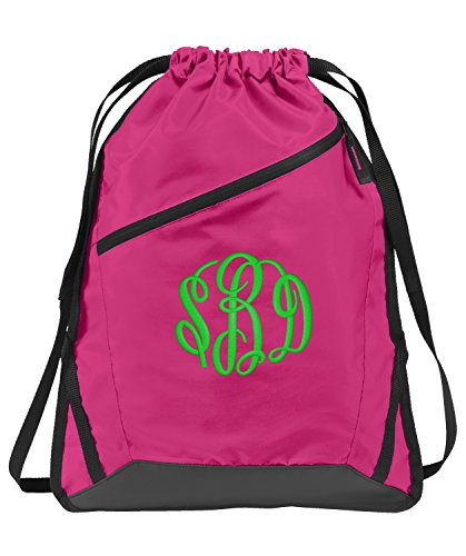 All about me company Zip-It Cinch Pack | Personalized Monogram/Name Sackpack Bag (Pink Azaleal/Black)]()