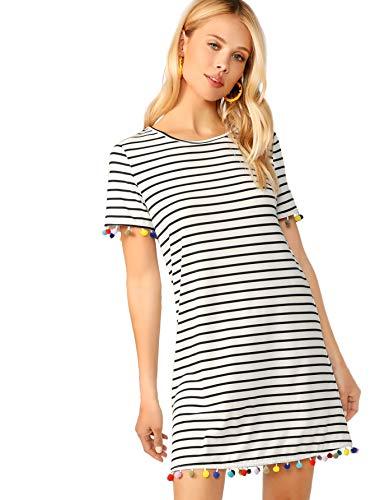 Floerns Women's Summer Causal Short Sleeve Striped Tunic T-Shirt Dress White-1 M