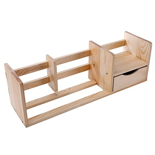 Unfinished Natural Wood Desktop Bookshelf Storage Shelf Rack with Drawer