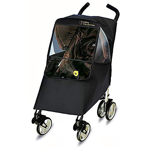 waterproofed Shimmering Textured Fabric Large Zippered Window with UV-Protection Baby Accessories Compartment Hippo Collection Universal Stroller Weather Shield//Rain Cover