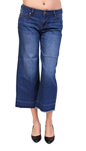 Nice Celebrity Pink Jeans Women Middle Rise Cropped Flared Jeans with Fray Hem 7 Medium Denim hot sale