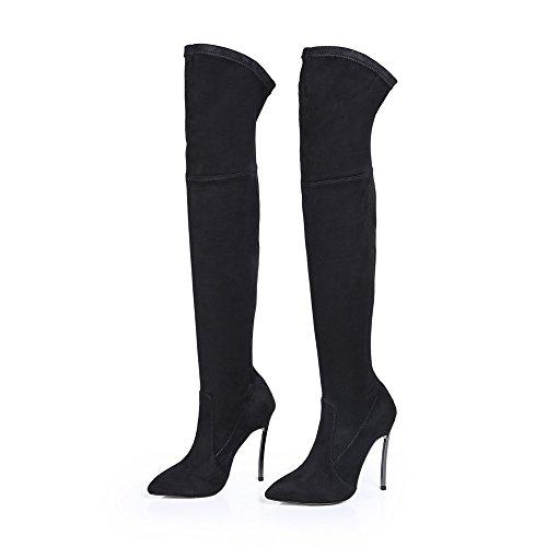 Shoen Tale Womens Finto Camoscio Sopra Il Ginocchio Alto A Punta Stiletto Tacco Alto Stivali Da Neve Alta Coscia Neri