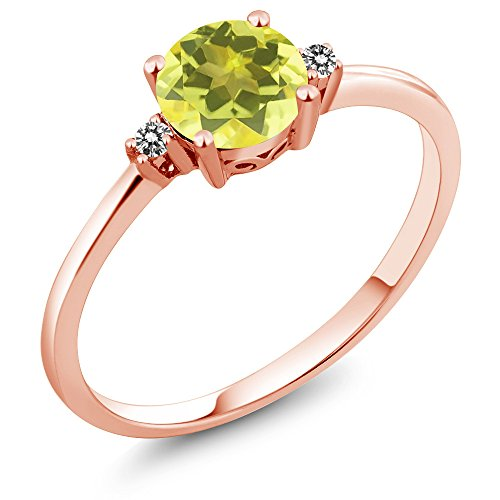 (Gem Stone King 10K Rose Gold Engagement Solitaire Ring set with 1.03 Ct Round Canary Mystic Topaz and White Diamonds (Size 5))