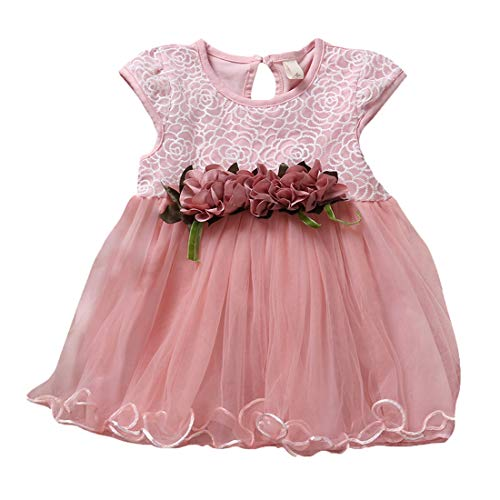 Baby Girls Tutu Dresses Kids Clothes Ruffled Floral Girls Tulle Dress for Wedding Birthday Party Photography Prop Special Occasion Dress (Pink, 12-18M)