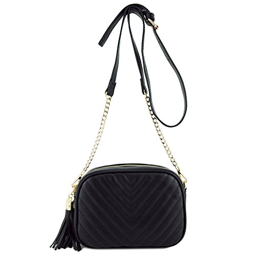 - Simple Shoulder Bag Crosbody with Metal Chain Strap and Tassel Top Zipper Black
