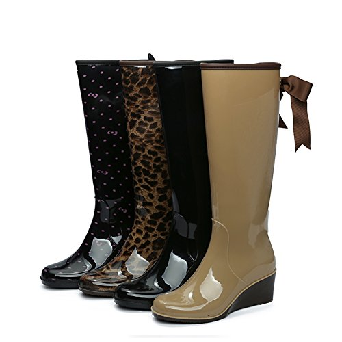 Attached Leopard Heel Women's Zipper fereshte Bow Rain Wedge Priting Lining Fleece Side Boots with Waterproof UqE060d