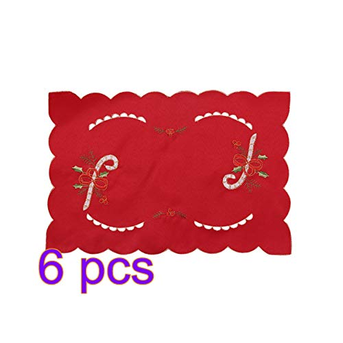 (BESTOYARD 6PCS Christmas Placemats Table Mats with Candy Canes Patterns Cup Coasters Needlepoint Non Slip Heat Resistant)