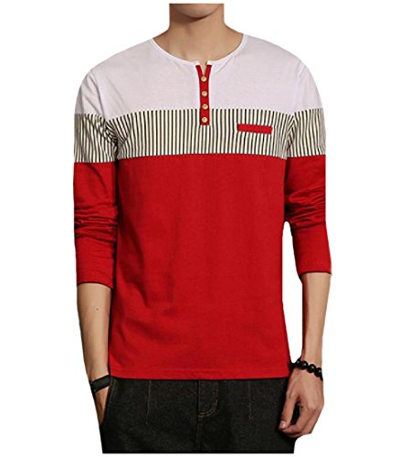 (Winwinus Mens Patched Pinstripe Henley Shirt Long Sleeve Contrast Tees Red XL)