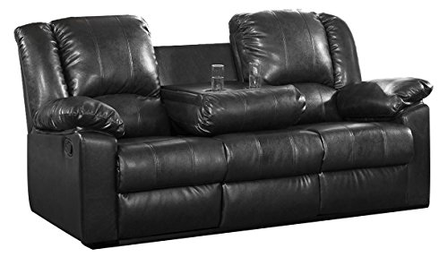 Theater Black Seating Collection (Milton Greens Stars 8031BK-S Burgas Reclining Sofa with Drop-Down Cup Holder Black)