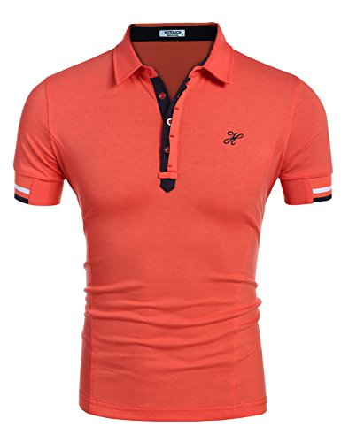 Hotouch Men's Stylish Casual Slim Fit Button Polo Shirt Orange L