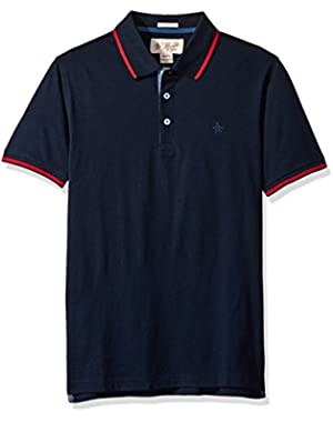 Men's Short Sleeve Polo with Contrast Tipping AT Collar and Cuffs