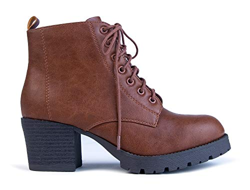 J. Adams Jones Combat Bootie - Casual Lace Up Closed Round Toe Chunky Heel Boots