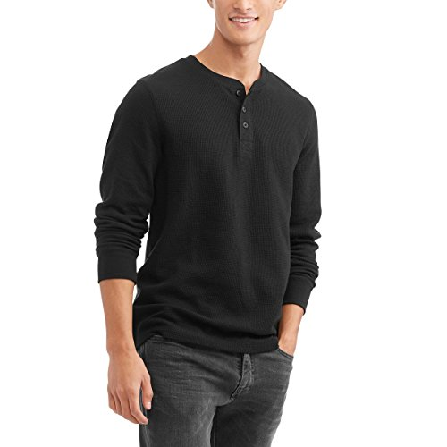 Faded Glory Men's Long Sleeve Waffle Knit Thermal Henley Top / Shirt (Black Soot, (Faded Black T-shirt)
