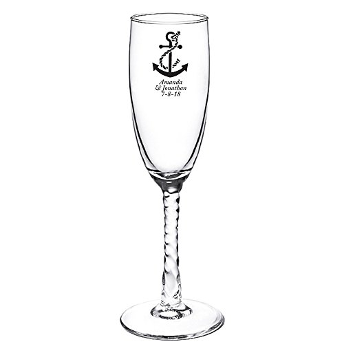 Flutes Black Stem (Personalized Color Printed Twisted Stem Champagne Flute - Anchor - Black - 12 pack)