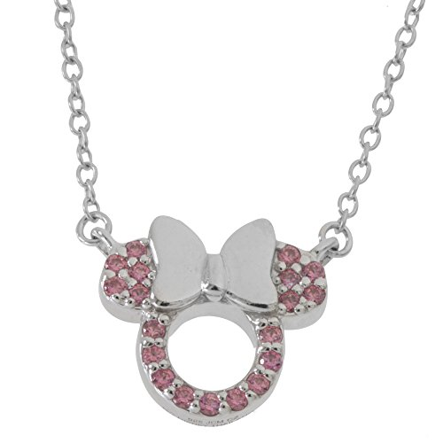 Disney Women's and Girls Jewelry Minnie Mouse Sterling Silver Pink Cubic Zirconia Pendant Necklace, 18