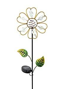 Russco III GS134929 Solar Powered LED Flower Garden Stake, Clear
