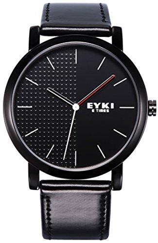 Voeons Men's Watches Black Leather Strap Quartz Casual Watch