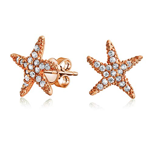 Nautical Pave CZ Cubic Zirconia Starfish Shaped Stud Earrings For Women Rose Gold Plated 925 Sterling Silver Aqua Cubic Zirconia Star