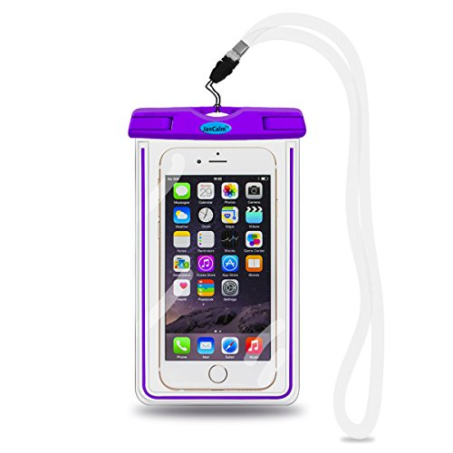 Universal Waterproof Pouch Case,JanCalm [Luminous Feature] IPX8 Certified Protective Smartphone Credit Card Waterproof Bag Life Case for iPhone 6 Plus/6/5s/5/5C/4S,for Galaxy S6,S5,S4 Etc (Purple) (Outter Box For A Lg Optimus)