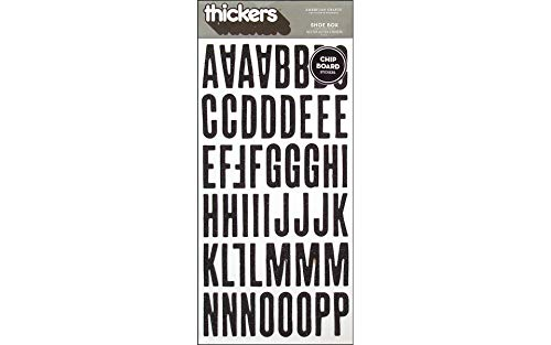 (American Crafts Thickers Glitter Chipboard Letter Stickers, Shoe Box Black)